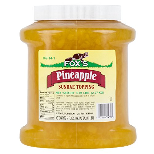 Fox's Pineapple Ice Cream Topping - 1/2 Gallon Jar - Foxs Ice Cream Toppings