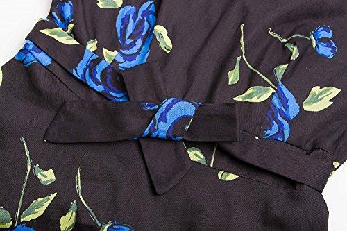 Vestido de Mujer Vintage Retro Swing Rockabilly Coctel Vestidos de Noche Negro Azul