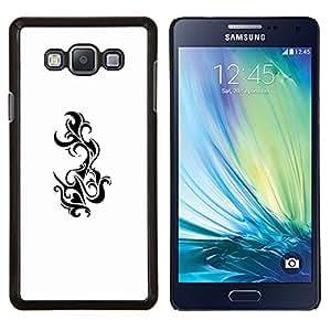 TECHCASE---Cubierta de la caja de protección para la piel dura ** Samsung Galaxy A7 ( A7000 ) ** --Tatuajes Arte Blanco Negro Tattoo Tail