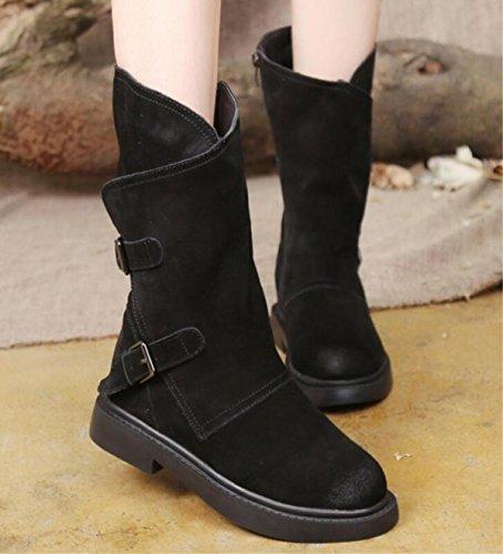 Le donne nuove scarpe di cuoio Scrub Rough con gli stivali più stivaletti in cachemire Martin Stivali Zipper Buckle , 39