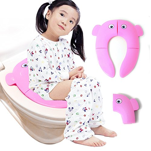 Travel Folding Portable Reusable Toilet Potty Training Seat Covers Liners Large Non Slip Silicone Pads with Carry Bag for Babies, Toddlers and Kids (Pink)
