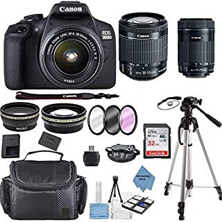 Canon EOS 2000D Rebel T7 Kit with EF-S 18-55mm f/3.5-5.6 III Lens + Canon 55-250 Lens+ Accessory Bundle +TopKnotch Deals Cloth-International Version