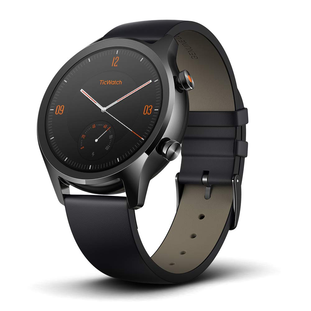 Ticwatch Mobvoi C2, Wear OS by Google Classic smartwatch, IP68 Sweat and Waterproof, Google Pay, Compatible with iPhone and Android- Onyx
