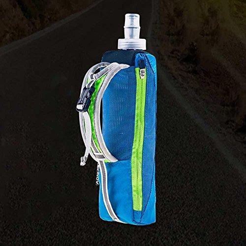 cloudwhisper Wasserdicht Hand Sport Wasserkocher Pack Outdoor Marathon Running Handy Tasche für 14cm Handy/500ml Weiches Wasser Fläschchen blau