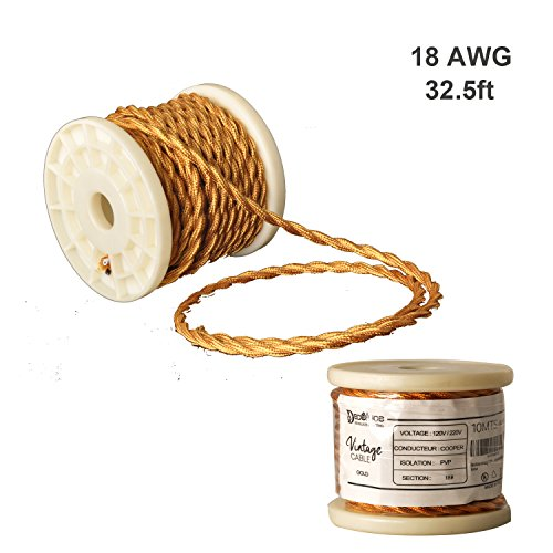 Decoluce Vintage Cable Twisted Cloth Covered Wire,10Meter/32.8Ft,18-Gauge/2-Conductor,DIY Antique Industrial Fabric Electrical Cloth Lamp Cord with UL Certificationfor (Gold)