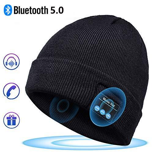 Bonnet Bluetooth Cadeaux Hommes Original – Unisexe Music Bonnet Bluetooth Chapeau avec écouteurs Stéréo Sans Fil, Doux Chaleureux Bluetooth Chapeau d'hiver, Convient à Sports, Ski, Patinage, Marche