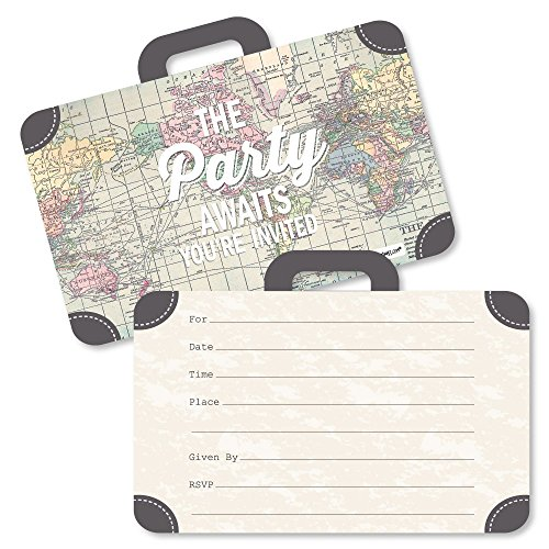 - World Awaits - Shaped Fill-in Invitations - Travel Themed Invitation Cards with Envelopes - Set of 12