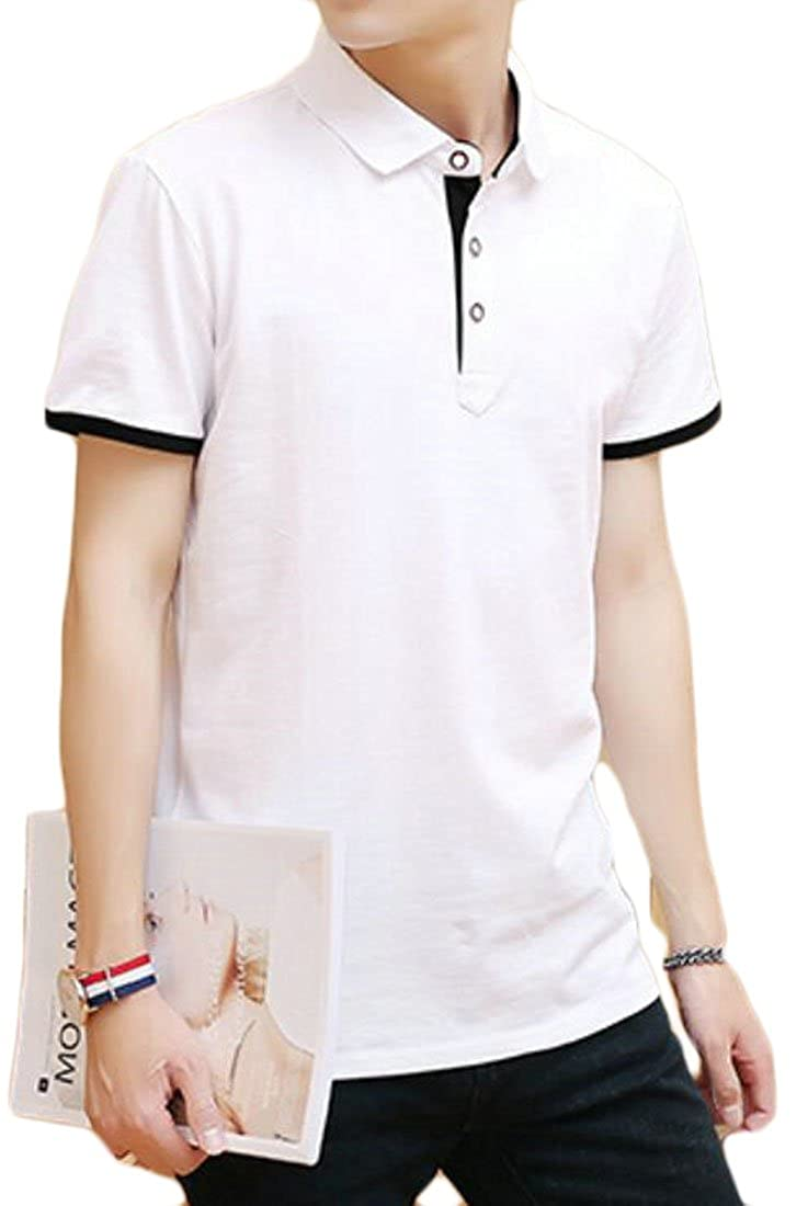 BYWX-Men Casual Slim Fit Henley Button Short Sleeve T Shirts Tees