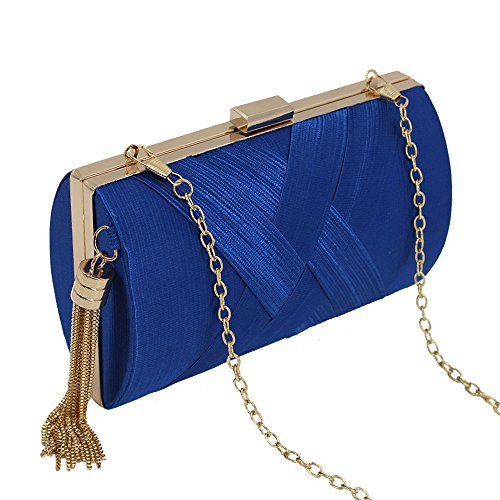 Wedding Satin Pleated Royal Party Bridal Clutch Handbag Prom Bag Women Blue Wocharm Evening xqOz4n18w