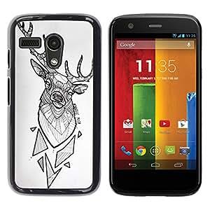 YOYOYO Smartphone Protección Defender Duro Negro Funda Imagen Diseño Carcasa Tapa Case Skin Cover Para Motorola Moto G 1 1ST Gen I X1032 - cuernos de venado patrón polígono blanco negro