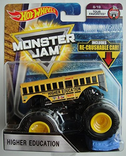 Hot Wheels Monster Jam 2018 Tour Favorites Higher Education (School Bus) With Re-Crushable Car 1:64 Scale (Hot Wheels Monster Jam Trucks 1 64)