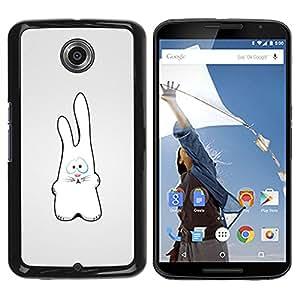 Qstar Arte & diseño plástico duro Fundas Cover Cubre Hard Case Cover para Motorola NEXUS 6 / X / Moto X Pro ( White Rabbit Art Drawing Figure Big Ears)