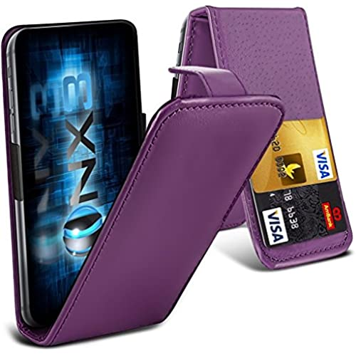 ONX3 ( Purple) Samsung Galaxy S8 Universal Luxury Style Folding PU Leather Spring Clamp Holder Top Flip Case with 2 Cards Slot, Slide Up Sales