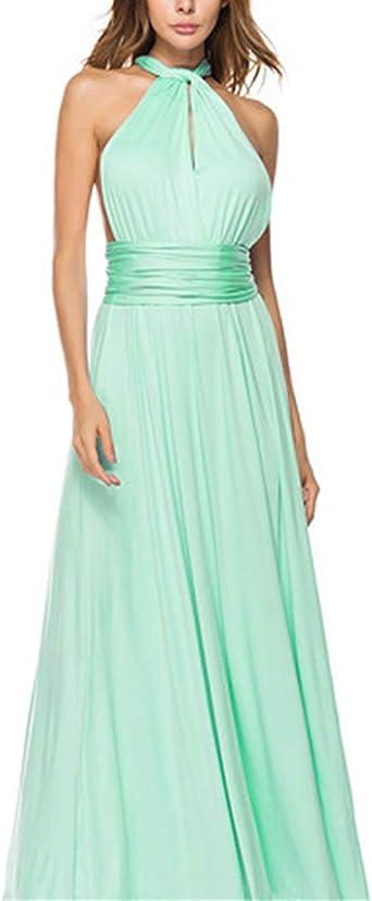 TALLA L(ES 44-46). FeelinGirl Mujer Vestido Maxi Convertible Espalda Decubierta Cóctel Multiposicion Tirantes Multi-Manera Largo Falda para Fiesta Ceremonia Sexy y Elegante Verde Menta L(ES 44-46)