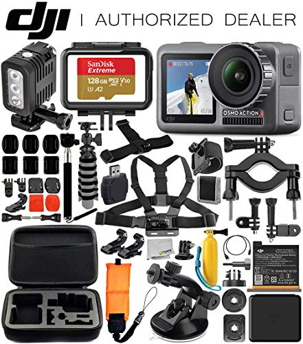 DJI Osmo Action 4K Camera with Underwater LED Light & Deluxe Accessory Bundle - Includes: SanDisk Extreme 128GB microSDHC Memory Card, Carrying Case, Extendable Selfie Stick, Flexible Tripod & More