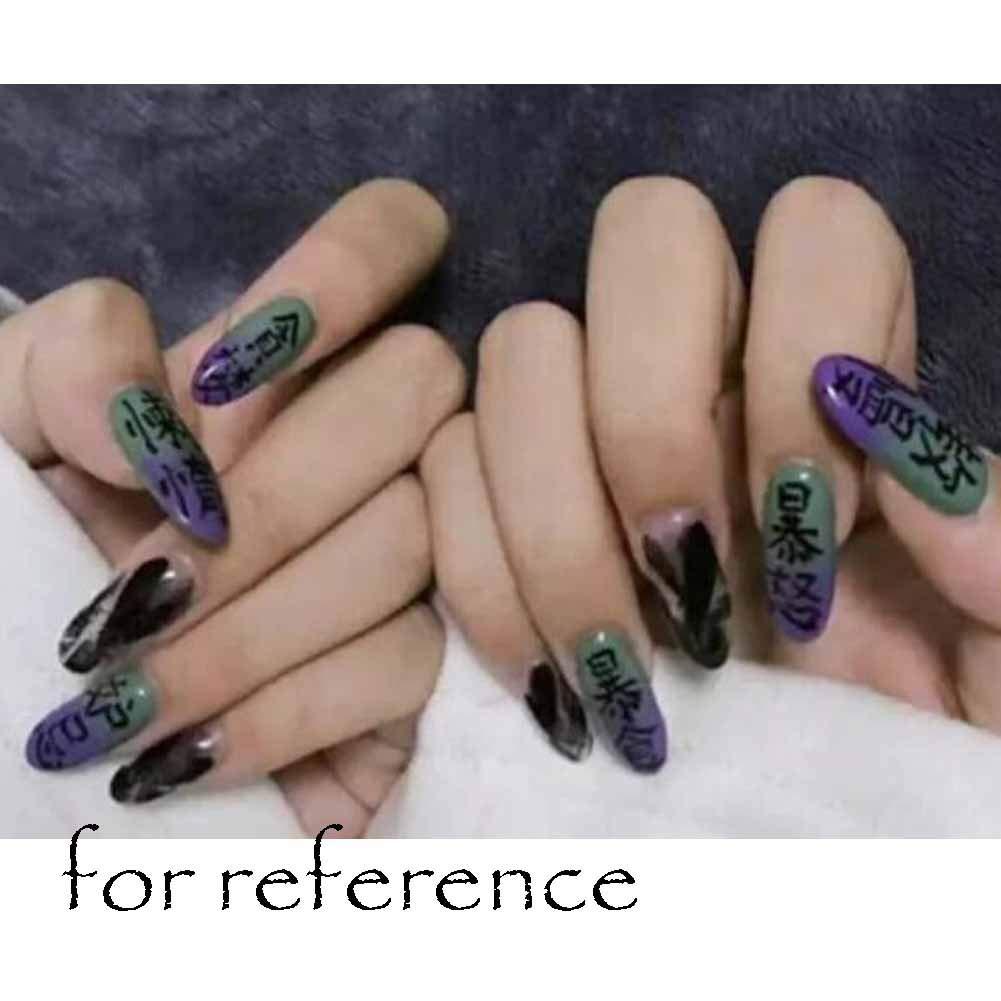 Celos - Púrpura/Negro Sharp False Fingernails Artificial False Nails Tips Dark: Amazon.es: Belleza