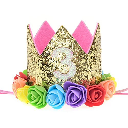Love Sweety Baby Rose Flower Golden Crown Birthday Headband Hair Accessories (Rainbow 3)