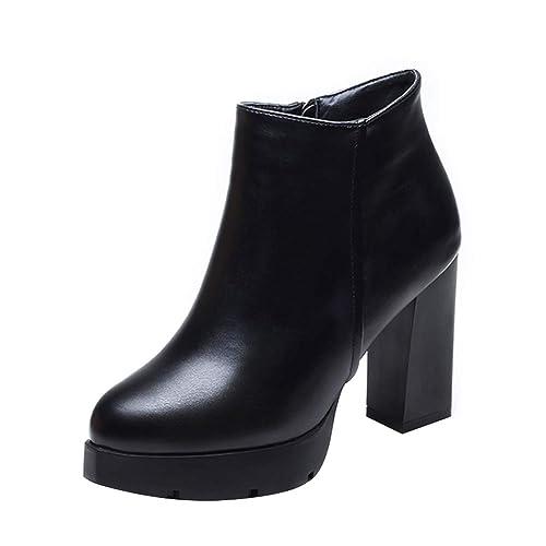 Uirend Zapatos Botas Mujer - Ankle Boots Botines Moderna Block tacón Plateau Calentar Forrado de Piel: Amazon.es: Zapatos y complementos
