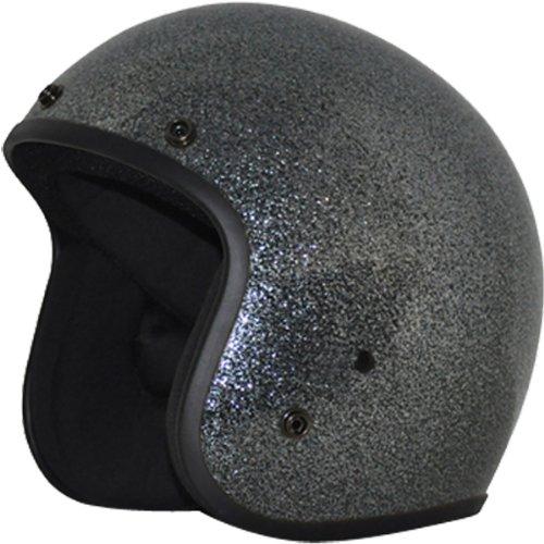 Daytona Metal Flake D.O.T. Approved 3/4 Shell Cruiser Motorcycle Helmet - Gun Metal / Medium