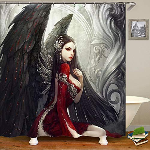 SARA NELL Goth Gothic Women Girl with Wings Shower Curtain,Waterproof Mildew Resistant Polyester Fabric,Extra Long Bath Curtains Bathroom Decorations,72X72 Inches with 12 Hooks ()