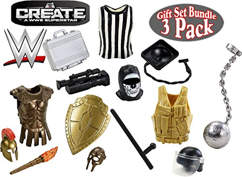 WWE Create A Superstar ''Referee'', ''Crime Fighter'' & ''Knight'' Wrestling Accessories Gift Set Bundle - 3 Pack by Mattel