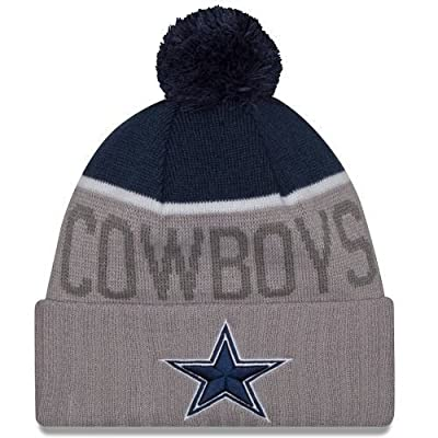 New Era Knit Dallas Cowboys Gray On Field Sideline Winter Stocking Beanie Pom Hat Cap 2015