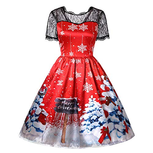 (Women Christmas Dress Short Sleeve Vintage Xmas Print Fancy Skirts Santa)