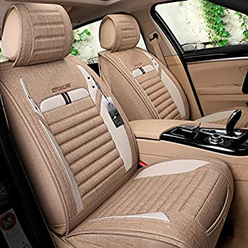 INCH EMPIRE Car Seat Cover Breathable Sweat Proof Cloth Fabric Cushion Front and Rear Full Set Universal Fit for Most of Sedan SUV Truck Hatchback Durable Use for All Year(Tan with White)