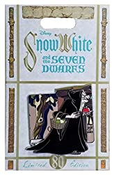 This pin was released to commemorate the 80th Anniversary of WDW first animated feature film; Snow White and the Seven Dwarfs. The pin features the Old Hag and Snow White. The Old Hag slides side to side, to reveal a window with Snow White baking ins...