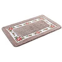 JSJ_CHENG Non Slid Rectangular Microfiber Rose Floral Bath Rugs and Mats (17.7-inch by 29.5-inch, camel)