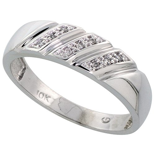 10k White Gold Mens Diamond Wedding Band Ring 0.05 cttw Brilliant Cut, 1/4 inch 6mm wide, Size 13