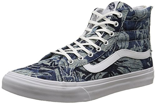 58507233e6ce Galleon - Vans Unisex Indigo Tropical SK8-Hi Slim Zip Blue True White  Sneaker - 5