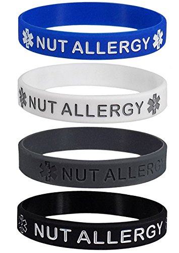 NUT ALLERGY Silicone Wristbands - Blue, Grey, White and Black Adult Size (4 Pack)