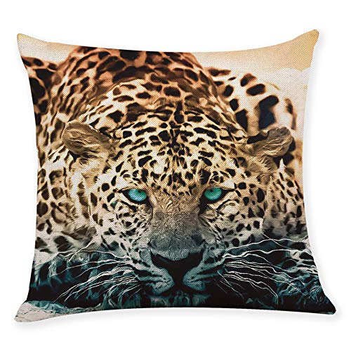 XBKPLO Pillow Cover Decorative Cafe Cushion Cases Domineering Tiger Pattern Printing Hidden Zipper Decor Home Square Comfortable Waist Throw Pillowcase 18 X 18 Inch
