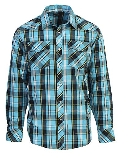- Gioberti Men's Western Plaid Long Sleeve Shirt with Pearl Snap-on, Turquoise/Navy/Yellow, Medium