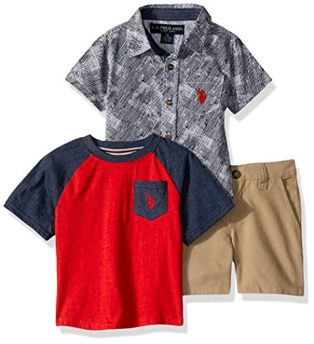 U.S. Polo Assn. Boys' Little Sleeve Sport, T-Shirt, and Short Set, Red Grey Multi Plaid, 5