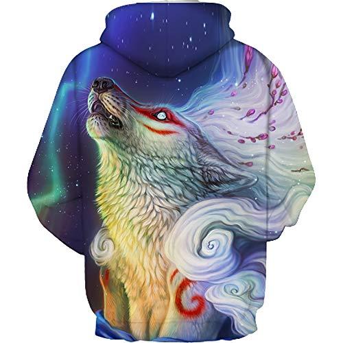 Galaxy Felpa Animali Felpe Wolf Con D Stampe Cerniera Uomo Cappuccio Tasche n87qX1