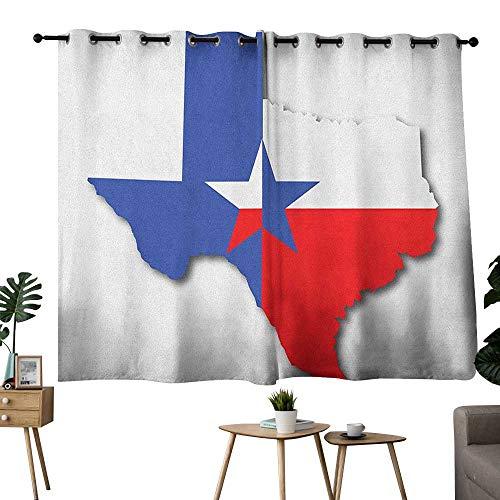(homecoco Texas Star Grommet Light Darkening Curtains Outline of The Texas Map American Southwest Austin Houston City Curtain Darkening Blackout Vermilion White Violet Blue W72 x)