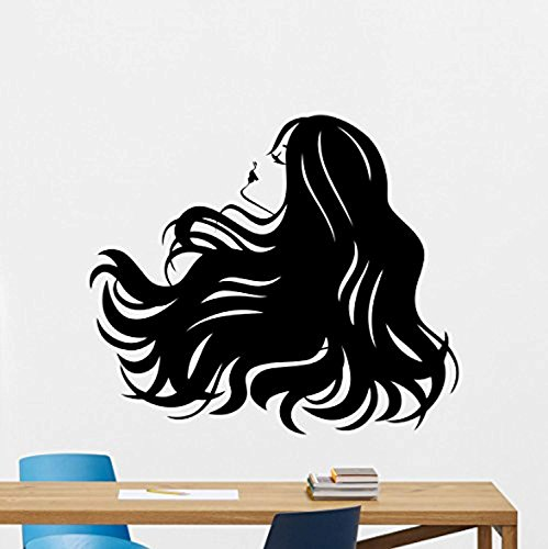 Vinyl Wall Decal Hairstyle Girl Beauty Salon Stylist Hairdressing Scissors Hairbrush Fashion Hair Salon Logo Barber Salon Haircut Barbershop Beauty Salon Vinyl Decor Sticker Mural Art Print TT8517