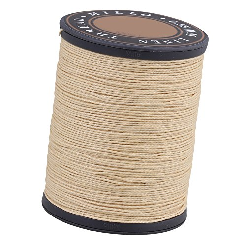 BQLZR 0.55mm Dia 150m Length Beige Round Flax Waxed Linen Sewing Cord Wax String Stitching Thread for Leather Craft DIY Handmade (Cord 5 Thread Waxed Linen)