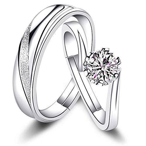 Sunamy Endless Love Matching Couple Rings for Him and Her Set, Adjustable 925 Sterling Silver Romantic Heart Design, Promise Ring Engagement Ring Anniversary Ring (Silver Best Couple Rings)