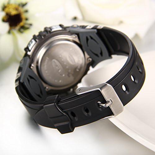 JewelryWe 2PCS Montre Enfant Numérique Sport Multifonctionnel Lumineux Digital Electronique Bracelet Plastique Acier Inoxydable Couleur Noir Rose