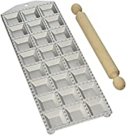 Eppicotispai 24-Hole Aluminum Square Ravioli Maker with Rolling Pin
