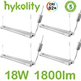 Hykolity 2FT Utility LED Shop Light Hanging Garage Workshop Ceiling Lamp Fixture with Power Cord Integrated LED 18W 1800 Lumens 5000K Daylight White 32w Fluorescent Equivalent - Pack of 4