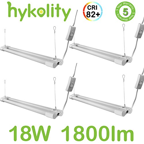 Hykolity 2FT Utility LED Shop Light Hanging Garage Workshop Ceiling Lamp Fixture with Power Cord Integrated LED 18W 1800 Lumens 5000K Daylight White 32w Fluorescent Equivalent - Pack of (Ceiling Lamps Shop)