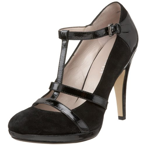 Nine West T-strap Pumps - Nine West Women's Guffaw T-Strap Platform Pump,Black Suede,10 M US
