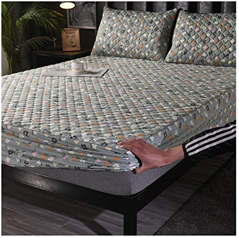MOLUO Drap de lit Couverture matelassée matelassée 100% Coton de Haute qualité Couvre-Matelas King Queen Anti-DUSH POUSSOUS Mise Pad Couverture Pas COMPRÉMENT LA Taille