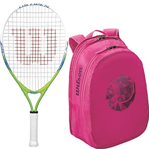 wilson u.s. Open 23 inch pre-Strung Junior Tennis Racquet kit or Set Bundled with a Pink Junior Tennis Racket Backpack (Perfect for Kids Ages 7-9)