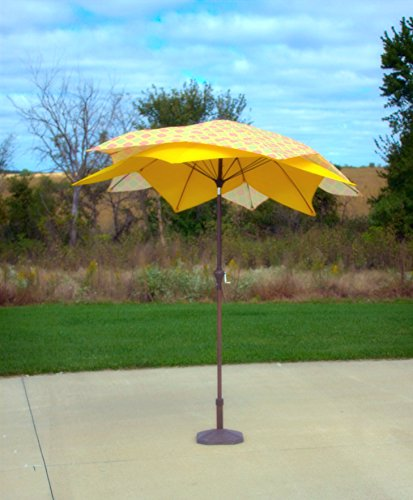 - Pebble Lane Living Wind Resistant Lotus Flower Design 8' Patio Market Umbrella with Crank - Yelow