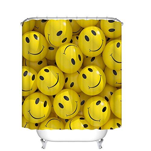 (Fangkun Shower Curtain Art Bathroom Decor Set Emoticons Cartoons Smiley Faces - Polyester Fabric Bath Curtains - 12pcs Shower Hooks - Yellow 72 x 72 inches)